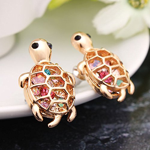 Gold Plated Cute Little Turtle Crystal Stud