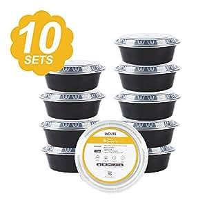 [10er Pack] Bento Box Set mit Deckel, Premium Mahlzeitvorbereitung Lebensmittelbehälter, Lebensmittelaufbewahrung, Mikrowellenfest, Geschirrspülerfest, Einfrierbar, Wiederverwendbar, Lunch Box, Stapelboxen, Gewichtsverlust, Gesunde Snacks, Portion Control Container, Bodybuilder, BPA-Frei, Arbeit - Schule - Reise (1-Fach Rund)