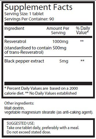 1000mg Resveratrol x 360 tablets – (4 bottles each with 90 tablets – 12 months supply). 10 x strength and with black pepper extract for faster absorption. SKU: RV3x4