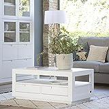 BANAK Sisal Couchtisch - Holz - 110x60x45 cm - Farbe Weiß Winter