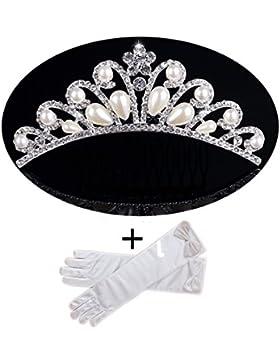Princesa niña de las flores Diademas Tiara con guantes Conjunto disfraz accesorio