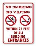 happygoluck1y Metallschilder mit Aufschrift No Smoking No Vaping, Vintage-Stil, Aluminium, Warnschild, Metallschild, Blechschild