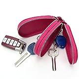 Esdrem-Unisex-Echtleder-Schlüssel-Hülle/Halter - mit Doppelreißverschluss - Auto-Schlüsselanhänger-Schlüsseletui Hot Pink Gourd Shape