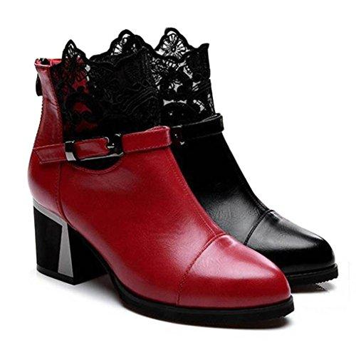 Stivali Donna , feiXIANG® Donne Ladies Metal fibbia zip plaid pizzo grosso stivali moda scarpe comode,cuoio artificiale,gomma