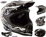 3GO X10-K BAMBINI CRANIO DESIGN MOTOCROSS QUAD ATV ENDURO OFF ROAD CASCO NERO CON OCCHIALI (L (51-52 CM))