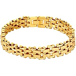 Goldnera Alloy Yellow Gold Chain Bracelet For Men
