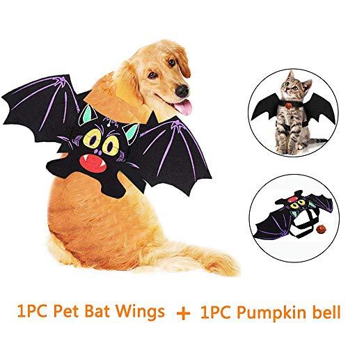 Kungfu mall animali costumi vestiti 1 pc halloween ali di pipistrello per animali domestici e 1 pc campana per cani e gatti decorazioni di halloween (qr s 1pet bat wings+bell)