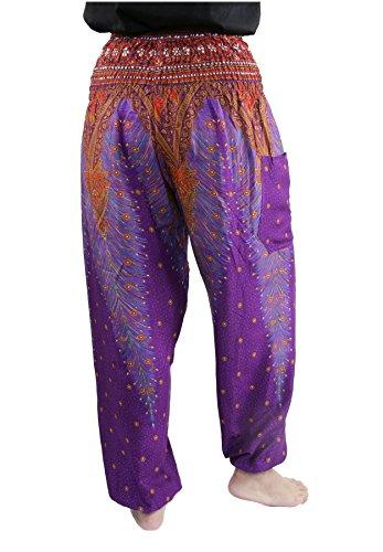 Lofbaz Damen Haremshose mit gesmoktem Bund Pfauendruck Blumenmuster Peacock 1 Violett C
