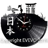 EVEVO Japan Wanduhr Vinyl Schallplatte Retro-Uhr groß Uhren Style Raum Home Dekorationen Tolles Geschenk Wanduhr Japan
