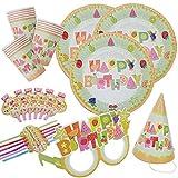 kingmate Party Set Geburtstag Muster - Party Set für Geburtstag Kindergeburtstag Mottoparty, Tischdeko Partygeschirr Set für 6 Personen.