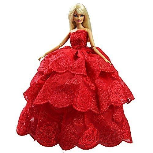 Preisvergleich Produktbild Handgemachte Qualität Multi-layer Prinzessin Hochzeit Kleid PartyKleid für Barbie Kleidung- Farbe Rot WEIHNACHTSGESCHENK