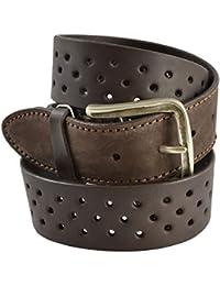 CTM Cintura in vera pelle italiana, modello vintage con pellame traforato, realizzata interamente a mano con fibbia in metallo