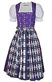 Trachtenkleid Dirndlkleid Baumwolldirndl Kleid lila grün weiß Tracht Ausseer-Dirndl Hirsch-Druck mit Karo-Schürze Baumwolle waschbar Made in Austria, Größe:46