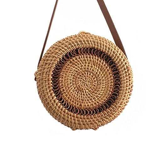 Runde Stroh Strandtasche Schultertasche Sommer Vintage Handarbeit Beach-Handtasche Umhängetasche Kreis Rattan Tasche Böhmische Umhängetasche Für Damen -