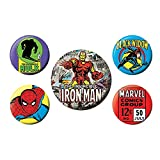 5 insignes Authentiques de Marvel Comics Iron Man, Veuve Noire Spiderman