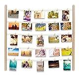 Uping Cornice Portafoto da Parete | Cornice Multipla per Foto | Con 30 Foto Clips (Colore di Legno Chiaro)