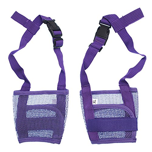 RayLineDo-Dog-Mouth-Muzzle-Breathable-Nylon-Mesh-Adjustable-Biting-Chewing-Prevention-Safety-Belt-Soft-Pet-Anti-Barking-Muzzles-for-Small-Medium-Large-Dogs-Size-S-In-Purple