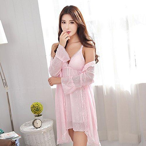 Ultra-dünnen Mesh Sling Nachthemd Nachthemd 3er set Rosa