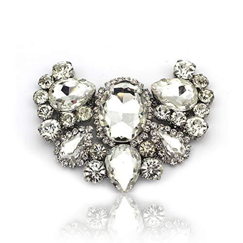 Rhinestone-Kristall-Blumen-Brosche Pins Schmetterling Brosche Silber plattiert Accessoires 1 PCS