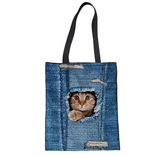 Canvas Denim Tote (ZXXFR Canvas Tote Bag Denim Jeans Cat 3-D-Drucken Baumwolle Shopping Bag Fashion Lagerung Verpackung Beutel, Lebensmittelgeschäft, C 3304 Z 22.)
