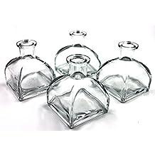 Feel fragancia difusor de cristal botellas de la–juego de 4–3,5cm de alto, 150ml 5.1Fl Oz fragancia accesorios uso para DIY Conjuntos de difusor de esencias con aceites esenciales, varitas de repuesto.