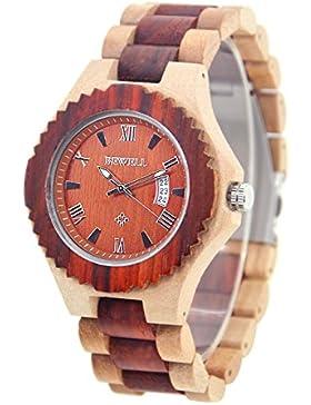Bewell W129A Vintage Stil Herren Armbanduhr mit Hohl-leuchtende Zeiger und Kalender Display Römische Ziffern (...