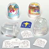 Bolas de nieve infantiles con imágenes del belén para colorear y colgar en el árbol de Navidad (lote de 4)