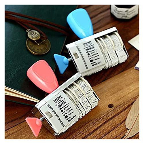 caxmtu 1Rad Gummi Briefmarken mit Worten Datum Roller Stempel Scrapbooking Werkzeuge Schule Stationery Aufkleber (Adress-aufkleber Zurück)
