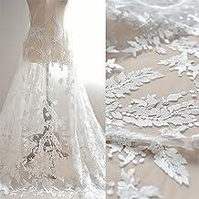 Alta calidad bordado tejido de encaje blanco boda mano DIY material mujeres vestido vestido mitad falda tela ancho 120cm