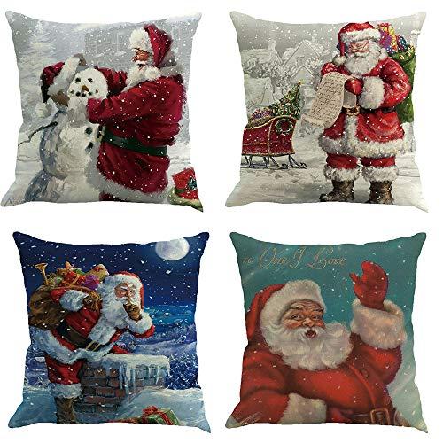 Homebaby set di 4 federe cuscino a tema natalizio decorazione casa stampa di babbo natale vacanza e soggiorno biancheria cuscino federa 45x45cm regali di natale