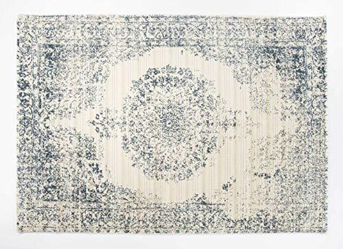 Seiden-schimmer-glanz (BRILLIANCE ORIENTAL moderner Designer Teppich in creme-blau, Größe: 240x340 cm)
