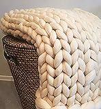 Handgefertigtes Chunky Gestrickte Wolldecke, Überwurf Mode Sofa Decken Yoga Matte Teppich Große Weiche Super Große Klobige Stricken Decke Haustier Bett Stuhl Sofa,Beige,200 * 200cm