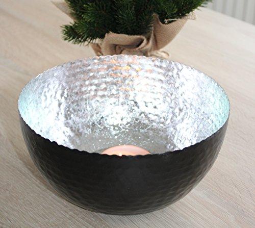 c-collection Windlicht Metallschale Silber schwarz 20cm Teelichthalter Kerzenhalter modern ausgefallen Dekoschale Teelichtschale bunt groß
