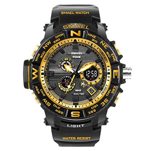 Blisfille Armbanduhr Outdoor Herren Wasserdicht Herrenuhr Multifunktional Schwarz Gold Outdoor Sportuhr Armbanduhr Automatikuhr