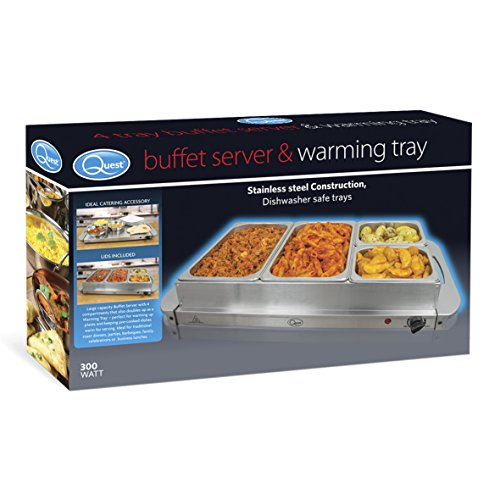 51rgen2jarL. SS500  - Quest 16500 Stainless Steel 4 Four Compartment Buffet Server and Warming Tray with Clear Lids, 300 W