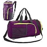 UBaymax Sporttasche Reisetasche Rucksack, Faltbarer Fitnesstasche Duffel Gym Bag, 32 Liter Handgepäck Weekender Tasche Große Sporttasche für Männer und Frauen (Violett)