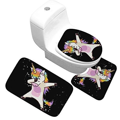 Eureya 3-teiliges Badematten-Set Einhorn Flanell Matte Rutschfest Badezimmer Teppich Teppich WC-Vorleger Set (Badezimmer Teppich + Ständer Teppich + WC-Sitz Cover), Unicorn-3, Large