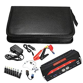 LmqhGzuqume Jump Starter 68800mAh 4 USB Fuente de alimentación para automóvil Batería Recargable del Banco de energía (Negro)