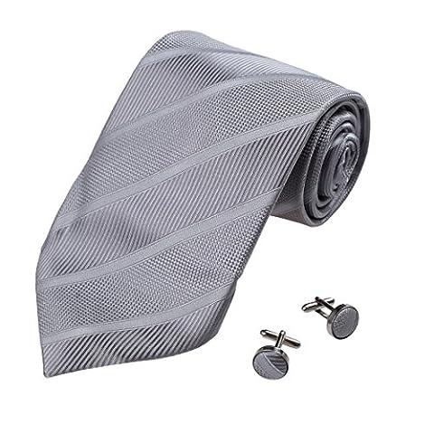 A1040 Argent Stripes Hommes soie cravate Boutons de manchette Set 2PT par Y&G