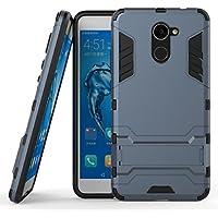 Ougger Fundas para Huawei Y7 Prime Carcasa Cover, Protector Extrema Absorción de Impacto [Kickstand] Piel Armor Cover Duro Plástico + Suave TPU Ligero Rubber 2in1 Back Gear Rear (Negro)