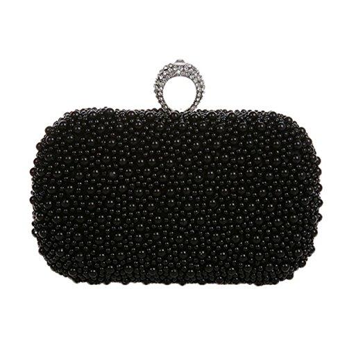 Damen-hohe Grad-Perlen-beiläufige Polyester-Partei-Partei-beiläufige Handtasche Black