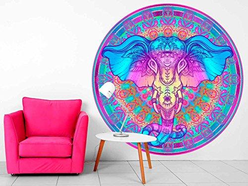 Vinilo Decorativo Pared Mandala Cabeza Elefante | Varias Medidas 100x100cm | Multicolor | Pegatina Adhesiva Decorativa de Diseño Elegante