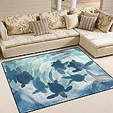 ZZKKO Meer Ozean Meer von Bereich Teppich Teppich, Motiv Schildkröte, Teppich-Matte für Wohn-Dorm Schlafzimmer Wohnzimmer Küche, Multi, 5'x7'(150x200 cm)