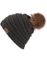 557f0cdfa595 Sanxin Hiver Adulte Unisexe Tricoté Hiver Chaud Grande Fausse Fourrure  Bonnet Bobble Pom Ski Neige Chapeaux