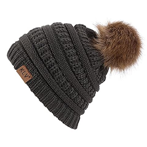 New Adult Unisex Knitted Winter Warm Large Faux fur Beanie Pom Pom Hat SKI Snowboard Hats (Dark Grey)