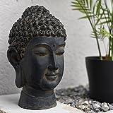 decoration & design Buddha Kopf Statue Figur Deko, schwarzes Design, 33cm Höhe