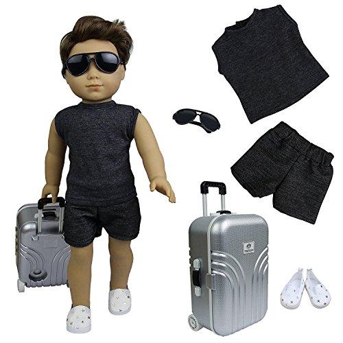 ZITA ELEMENT 5 Stück Urlaub Puppen Zubehör Set für 45cm 46cm Stehpuppe und American 18 Zoll Girl Puppe Sonnenbrille Kofferraum Oberteil Hosen Schuhe Bekleidung Kleidung