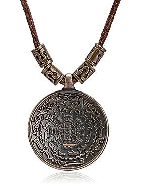 Bishiling Herren Halskette Lederkette mit Anhänger Rund Schild Surferkette Verstellbaren Herrenkette Silber/Gold...