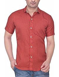 PP Shirts Men Brown Coloured Checkered Shirt