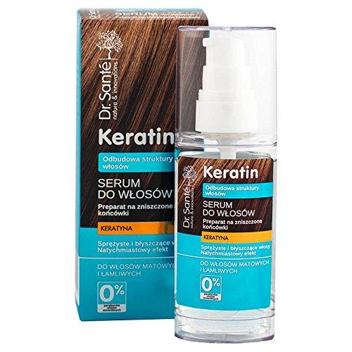 Dr. Santé - Huile pour cheveux à la kératine - Sérum au collagène et à l'arganine - Régénère en profondeur - 50 ml - 0 % parabènes et huiles minérales